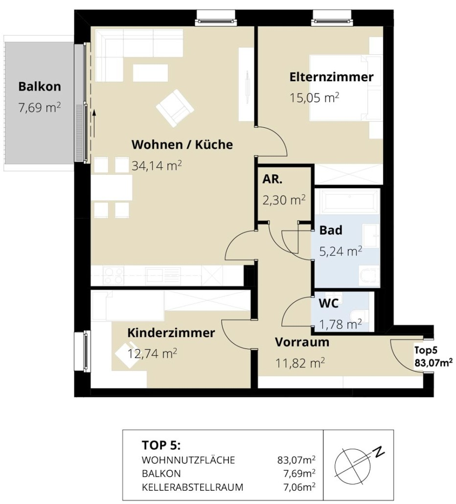 Immobilie von Wohnbau Bergland in Burkerstraße Mittersill Top 5 1. OG #2
