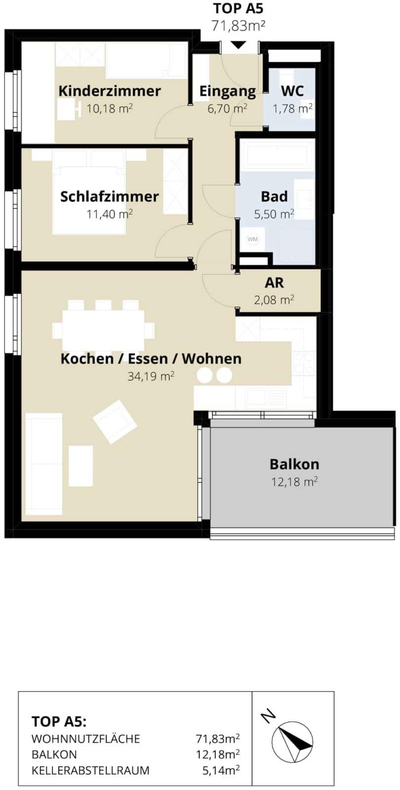 Immobilie von Wohnbau Bergland in Sonnblick am Gründbichl (13 Eigentumswohnungen) Saalfelden – Bauetappe 3 Top A5 – Haus 6830 #1