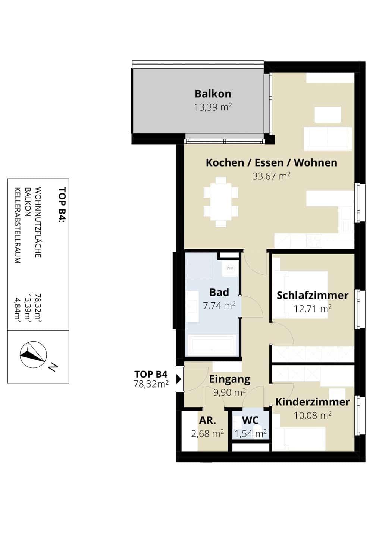 Immobilie von Wohnbau Bergland in Sonnblick am Gründbichl (13 Eigentumswohnungen) Saalfelden – Bauetappe 3 Top B4 – Haus 6831 #1