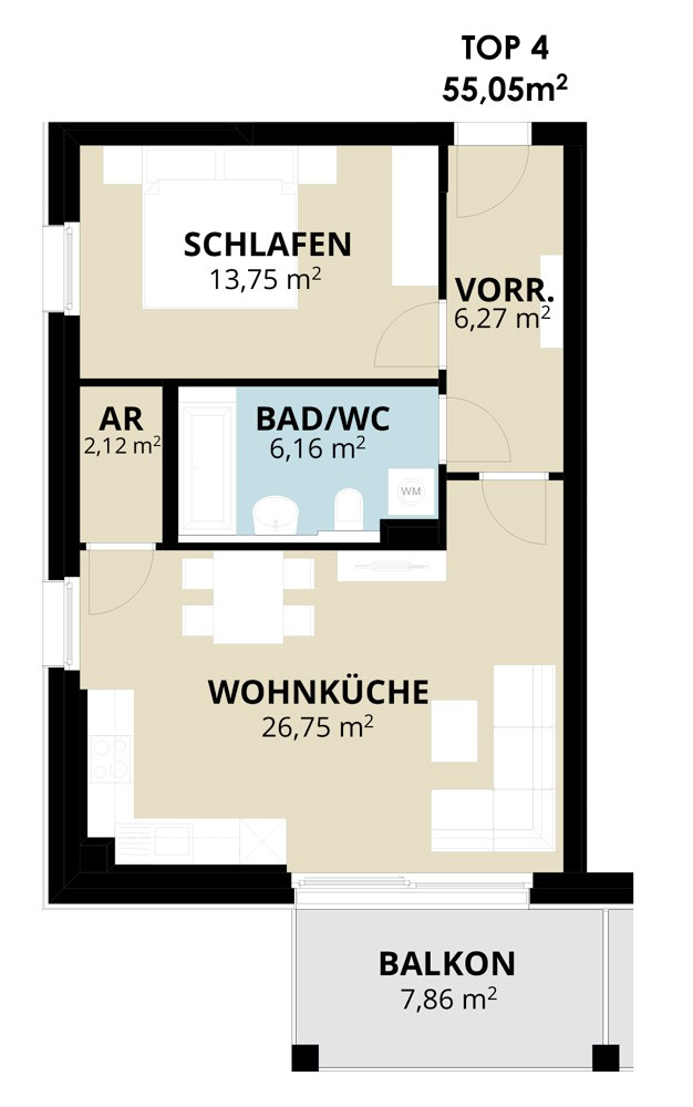 Immobilie von Wohnbau Bergland in Wohn(t)raum mit Sonnblick in Goldegg Goldegg im Pongau Top4 – 1. OG #1